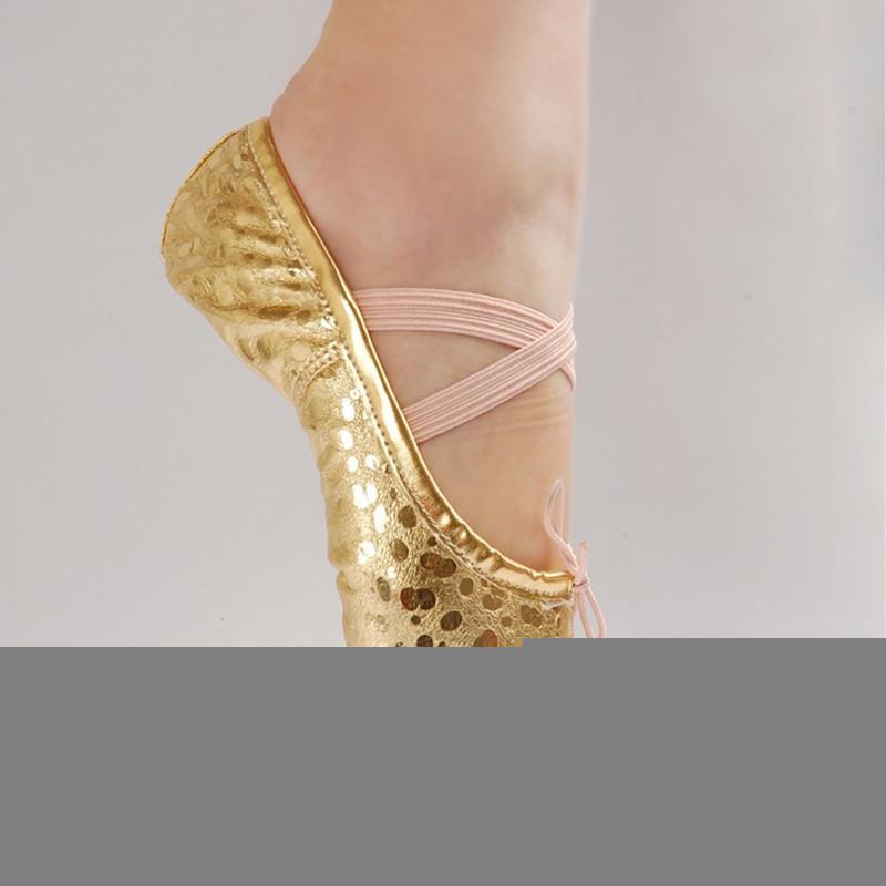 Diskon Gadis Wanita Kulit Manik Manik Menunjuk Sepatu Dansa Senam Balet Gold 16 Ukuran
