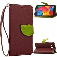 Daun Unik Magnet PU Leather Flip Wallet Stand Slot Kartu Strap Tangan Case Cover untuk Samsung Galaxy Core LTE 4 G/Avant SM-G386F (Brown)