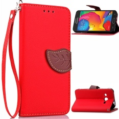 Daun Unik Magnet PU Leather Flip Wallet Stand Slot Kartu Strap Tangan Case Cover untuk Samsung Galaxy Core LTE 4 G/Avant SM-G386F (Merah)