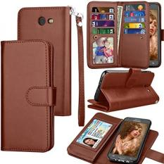 Galaxy J7 Sky Pro / J7 V Case, J7 Prime / J7 Perx Wallet Case, Samsung Halo / J7 2017 PU Leather Case, Tekcoo Credit Card Slots Carrying Folio Flip Cover [Detachable Magnetic Case] & Kickstand - Brown - intl
