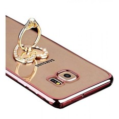 Galaxy S7 Edge Case, TabPow Ornament Series - Slim Luxury Clear TPU Case Cover Bumper With Ring Grip Holder Stand For Samsung Galaxy S7 Edge, Rose Gold - Crystal Heart - intl
