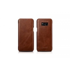 Galaxy S8 Plus Case, Hwota Business Series Vintage Genuine Curve Edge Flip in Wallet Cover Folio Flip Style Cases Slim Fit Leather Case for Samsung Galaxy S8 Plus (Brown) - intl