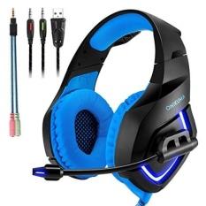 Gaming Headset dengan MIC untuk PS4, PC, Xbox One, LAPTOP Kejernihan Suara Isolasi Kebisingan LED Lampu Headphone Soft Nyaman EarPads dengan Kontrol Volume Mikrofon Omnidirectional Gamer untuk Smartphone, Komputer-Intl