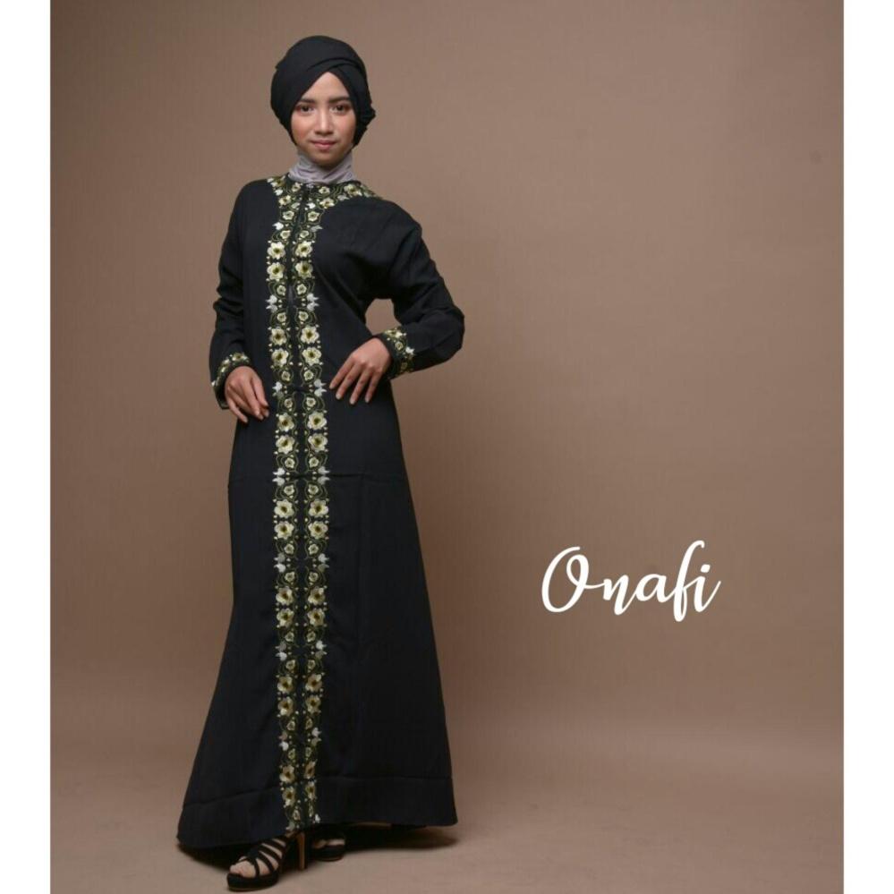 Spesifikasi Gamis Abaya Arab Bordir Hitam Flower Fara L Busui Merk Onafi