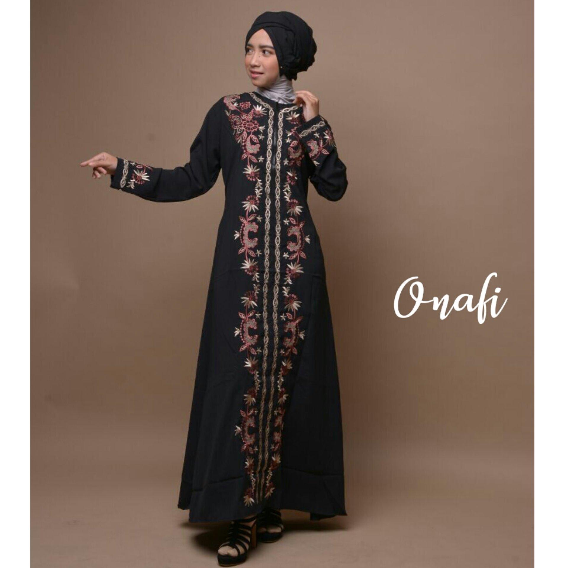 Dapatkan Segera Gamis Abaya Arab Hitam Bordir Flower Khalisha S Bata M Biru L Hijau
