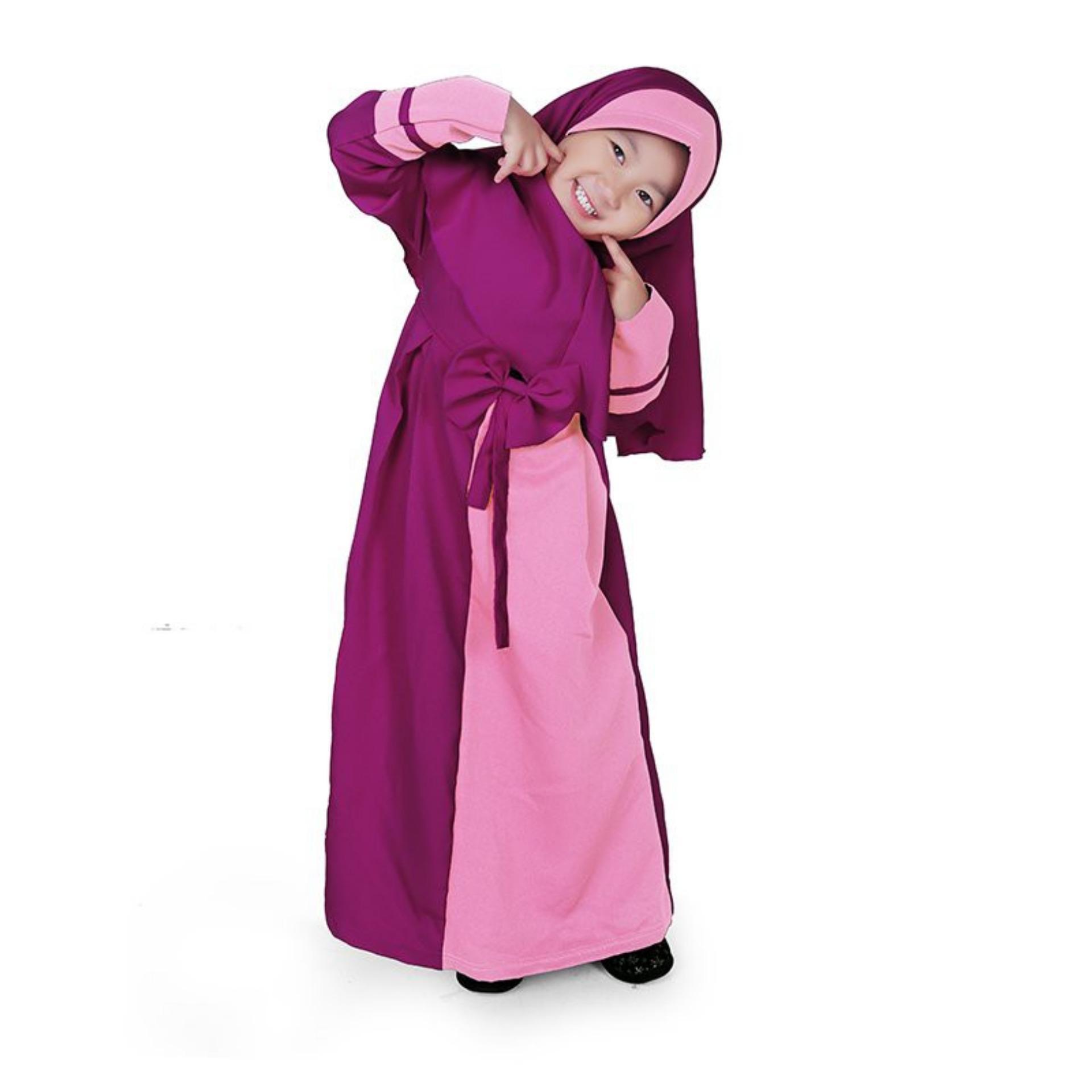 Gamis Anak Perempuan Balotelli Pita Murah - Ungu / gamis anak / baju muslim / baju muslim murah / gamis anak perempuan