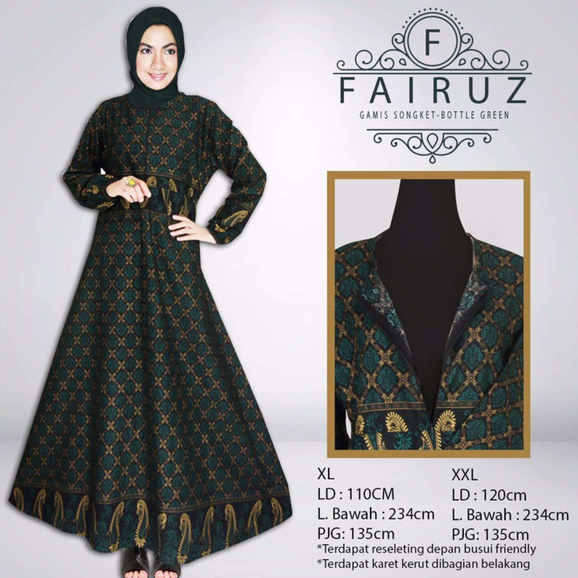 Gamis Songket Fairuz Bottle Green