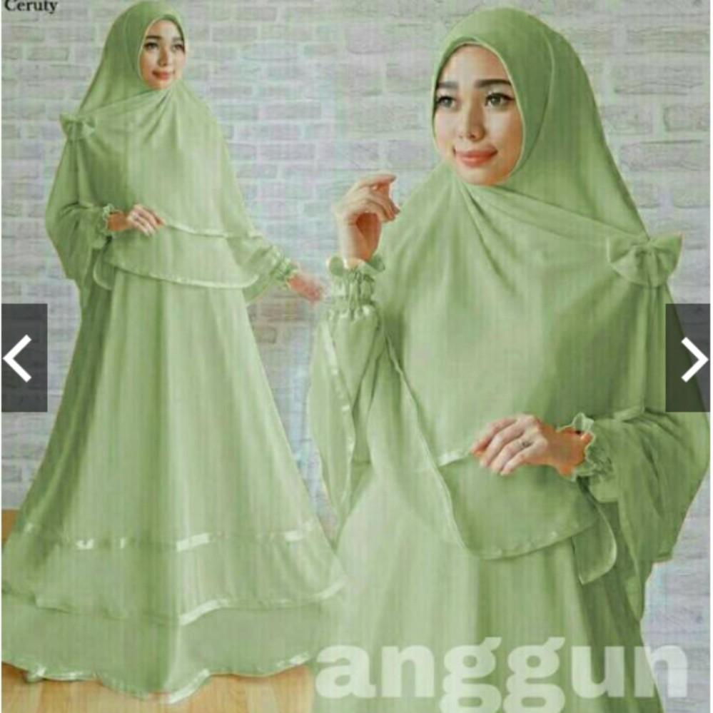 Jual Gamis Syari Pesta Jersey Hijab Bergo Baju Kondangan Muslimah Gaun Pesta Muslim Anggun Maxy Dress Syari Busui Friendly Ihanggun Tgs Asli