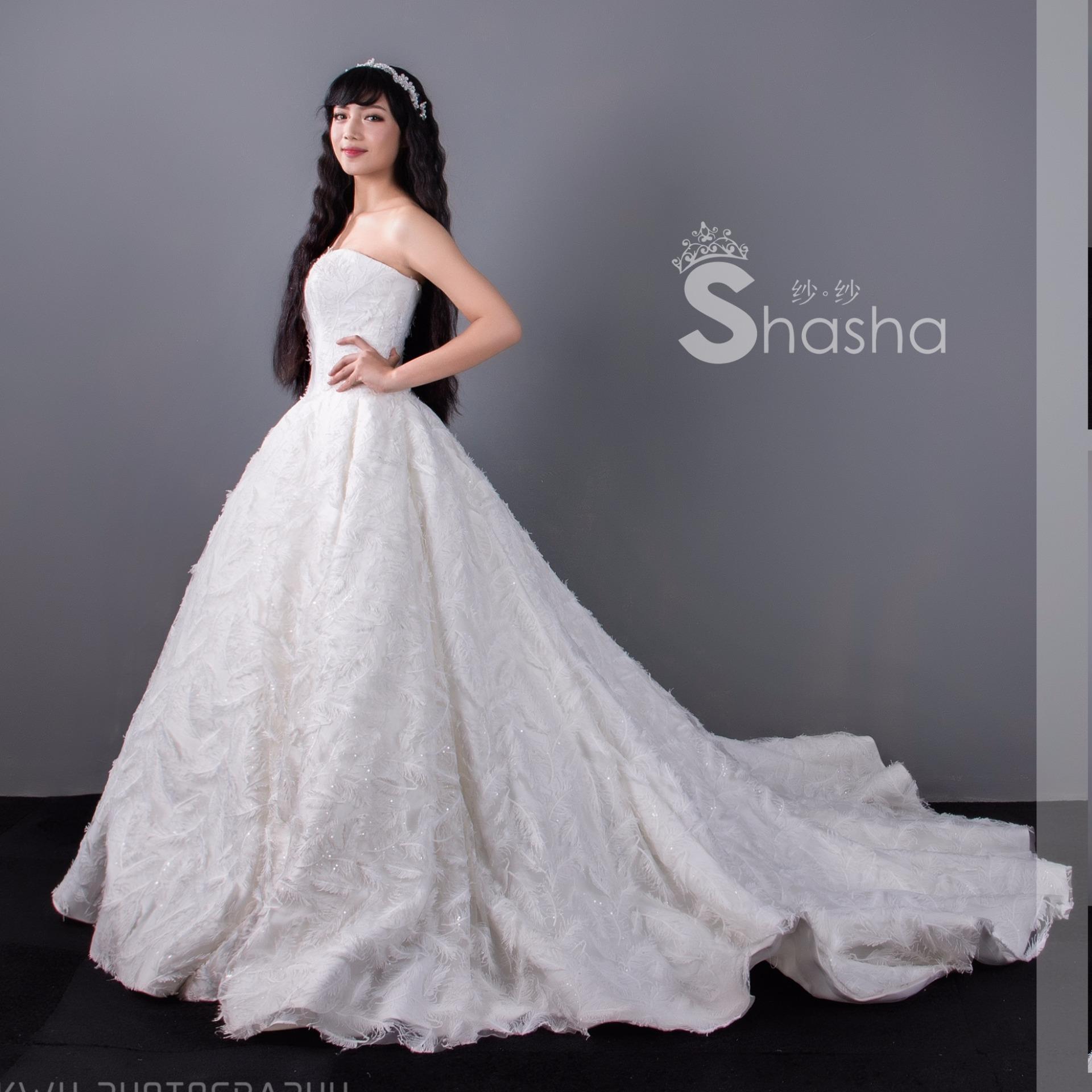 gaun pengantin bulu angsa