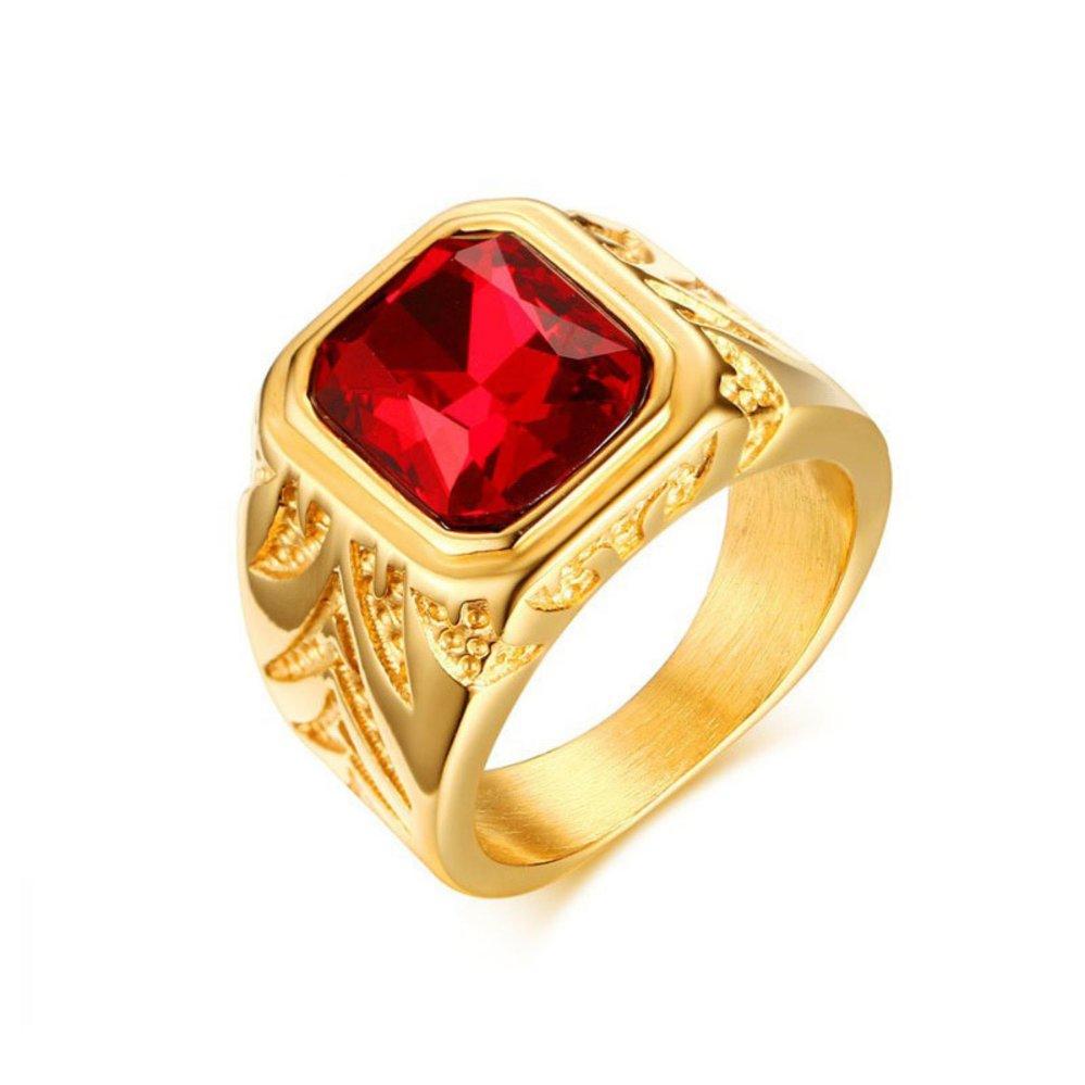 Toko Gaya Eropa Trendy Perhiasan 15 5Mm Stainless Steel Red Rhinestones Cincin Warna Emas Mewah Terlibat Cincin Pria Termurah
