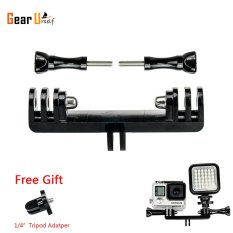 GearBear Tripod Bike Handle Bar Extension Double Bracket Brige Mount with 1/4 Inch Convertor For LED Light and GoPro Hero 6 5 4 Session 3+ 3 2 1 Sports Action Camera