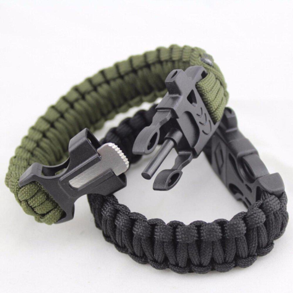 Gelang Outdoor Kamping Peluit Paracord Bracelet Survival Bracelet Magnesium Flint Fire Starter