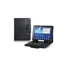 Generik Faux Kulit Flip Case dengan Built In Bluetooth Keyboard untuk Samsung Galaxy Tab 3 P5200 10.1 Tablet PC (HITAM) -Intl