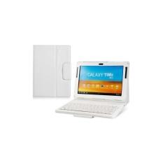 Generik Faux Kulit Flip Case dengan Built In Bluetooth Keyboard untuk Samsung Galaxy Tab P7510 10.1 Tablet PC (Putih) -Intl