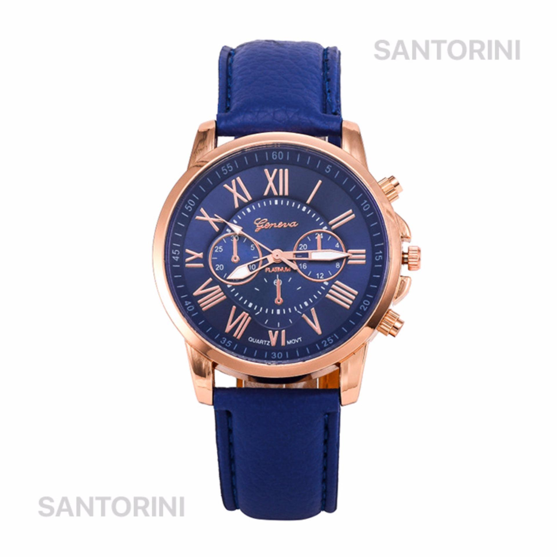 GENEVA Jam Tangan Modis Wanita Analog Fashion Women Analog Quartz Strap Wrist Watch BLUE