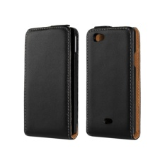 Genuine Leather Flip Cover Case untuk Sony Xperia Miro ST23i (Hitam)-Intl