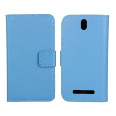Genuine Leather Wallet Case Cover for HTC One SV (Blue) - intl