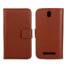 Genuine Leather Wallet Case Cover for HTC One SV (Brown) - intl