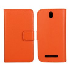 Genuine Leather Wallet Case Cover for HTC One SV (Orange) - intl