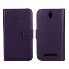 Kulit Asli Dompet Case Cover untuk HTC One SV (Ungu)-Intl