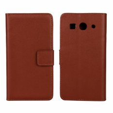 Genuine Leather Wallet Case Cover for Huawei Ascend G520 / G525 (Brown) - intl