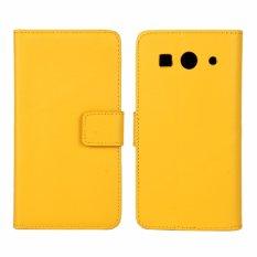 Kulit Asli Dompet Case Cover untuk Huawei Ascend G520/G525 (Kuning)-Intl