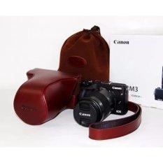 Asli Kulit Asli Tas Kamera Cover Case untuk Canon EOS M3 EOSM3 dengan Desain Bukaan Bawah-Intl