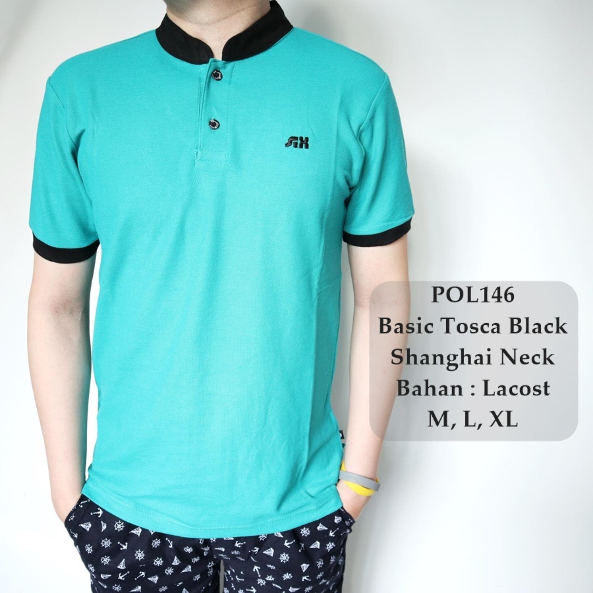Rp 75.000. GFS Kaos Berkerah Polo Cowok Style Basic Tosca Black Shanghai Neck - 146IDR75000