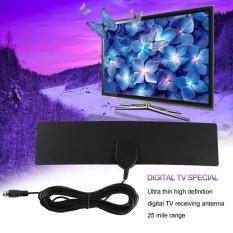 Hadiah HDTV Digital Indoor Antena Ultra Tipis Antena TV Penuh 1080 4 K HDTV LAN-1051 Hitam-Intl