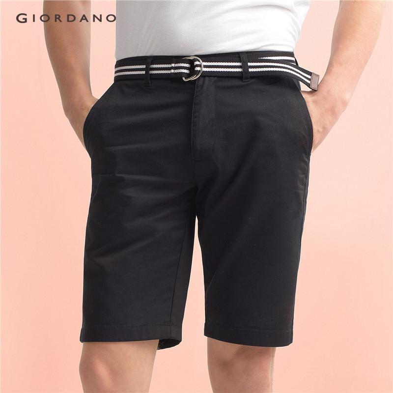Giordano Pria Solid Cotton Bermuda (dengan Belt) 01107223 Hitam-Internasional
