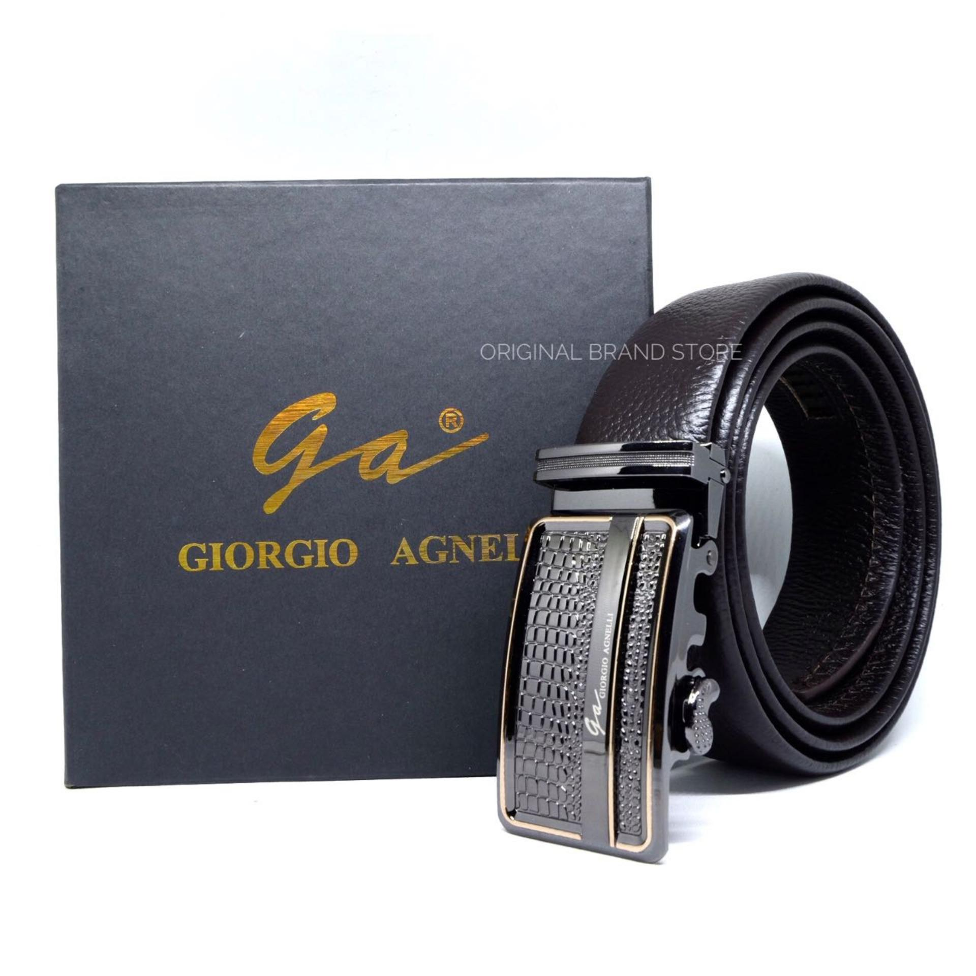 Jual Giorgio Agnelli Original Gesper Sabuk Pria Ikat Pinggang Kulit Asli Pria Rel Otomatis 90R Giorgio Agnelli Ori