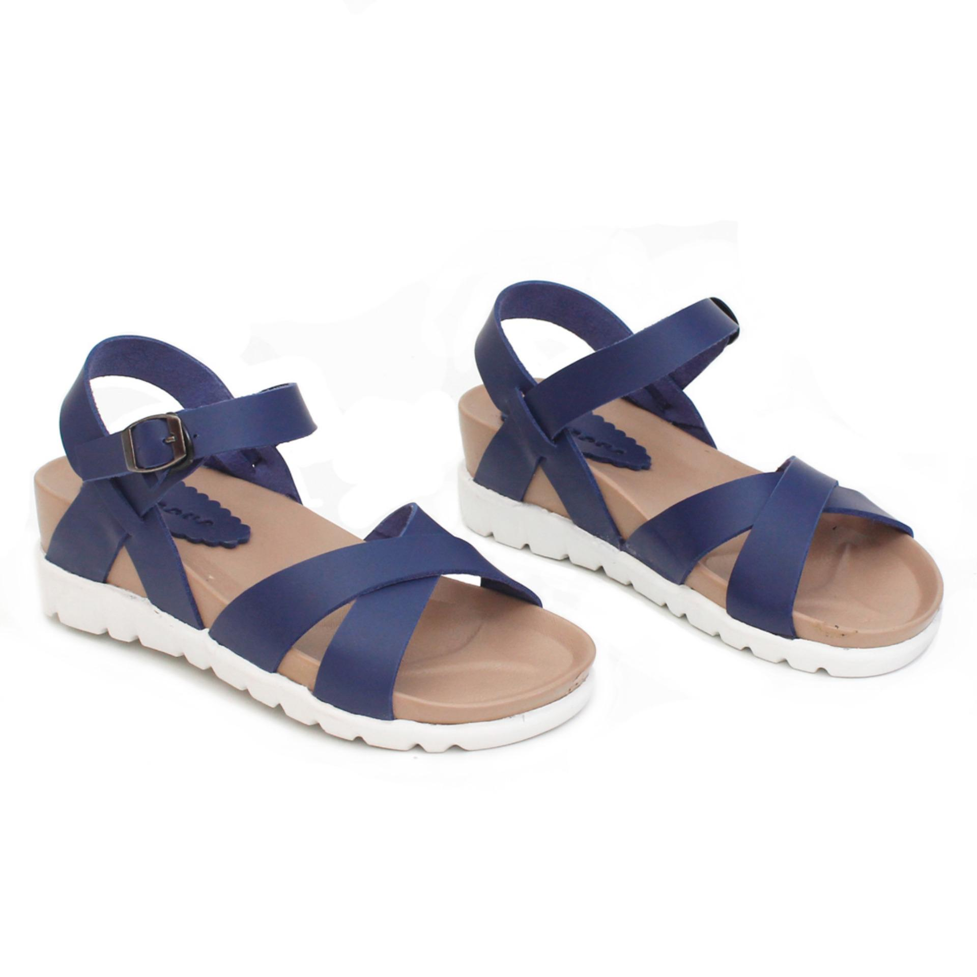 Beli Glebova Sandal Platform Wedges Strappy Cross Navy Kredit