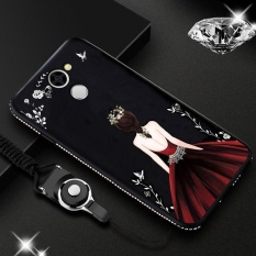 Glitter Beauty Case untuk Huawei Y7 Prime Slim Fleksibel Karet TPU Cover dengan Bling Diamond Rhinestone Bumper + Wrist Strap Merah & Rok Hijau