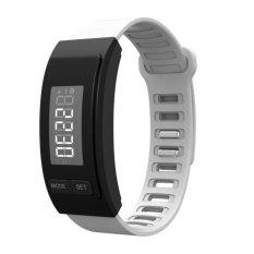 Global Partner Aktivitas Tracker LED AG10 Baterai Lama Menggunakan TimeReal Hitungan Waktu Berjalan Langkah Akurat Tampilan Waktu Kalori CountEasy Operasi Tahan Air Kebugaran Band Pedometer Gelang WhiteGPH40W-Intl