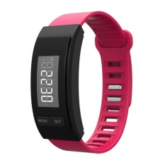 Global Partner Pedometer Bracelet LED Display Real Time CountWalking Step Calorie Distance Measure Easy Operation Long UsingTime AG10 Battery Accurate Time Display Waterproof Fitness BandActivity Tracker Pink GPH40P - intl
