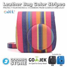 Godric Fujifilm Leather Bag Kamera Instax Mini 8 & 9 Tas Polaroid Color Stripes Case