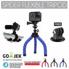 Godric Spider Mini Flexible Tripod with Tripod Mount Adapter for Xiaomi Yi, BRICA & GoPro - Biru