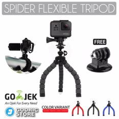 Godric Spider Mini Flexible Tripod with Tripod Mount Adapter for Xiaomi Yi, BRICA & GoPro - Hitam