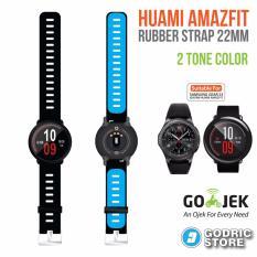 Beli Godric Xiaomi Huami Amazfit Silicone Strap 2 Sisi Warna 22 Mm Silicon Rubber Smartwatch Replacement Hitam Biru Dki Jakarta