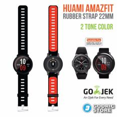 Beli Godric Xiaomi Huami Amazfit Silicone Strap 2 Sisi Warna 22 Mm Silicon Rubber Smartwatch Replacement Hitam Merah Godric