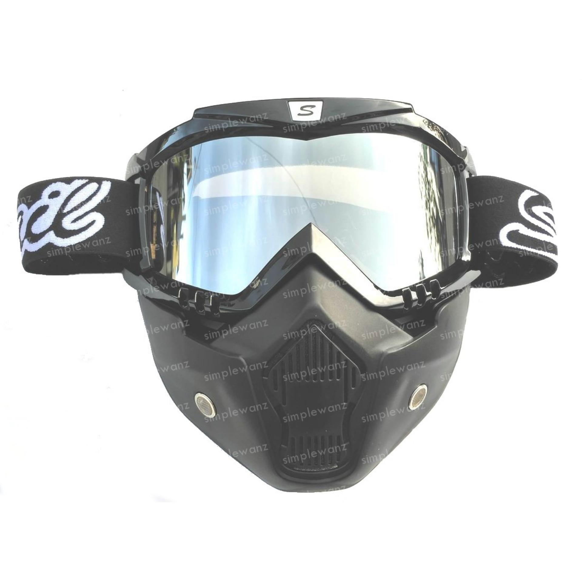 Diskon Goggle Alien Snail M20 Shark Mask Modular Google Mx20 Masker Topeng Silver Mirror Lens Indonesia