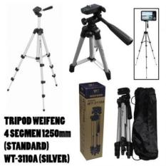 Gogo Grosir Weifeng Portable Tripod Stand 4 Section Aluminium Legs with Brace WT-3110A - Silver