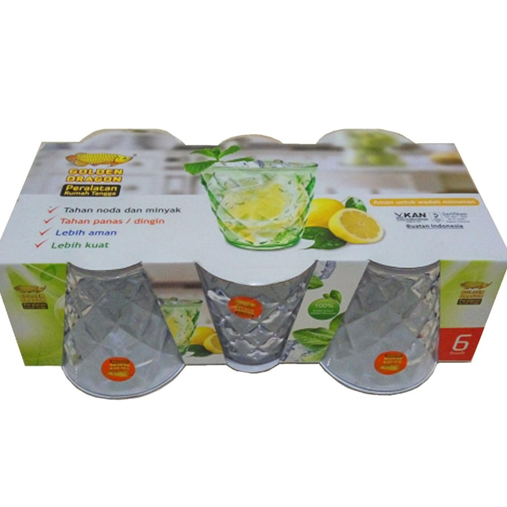 Beli Golden Dragon Gelas Kristal Melamine Transparant 245 Ml Isi 6Pcs Murah