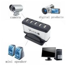 Portabel YANG BAGUS 7 Port USB 2.0 Tinggi Kecepatan HUB Ekspansi USB Kabel Adaptor Daya AC Hitam & Putih AS Steker -Internasional