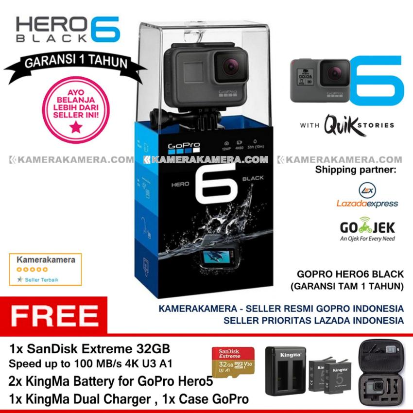 Spesifikasi Gopro Hero6 Black Quik Stories Resmi Gopro 4K Wifi Waterproof With Zoom Mode Sandisk Extreme 32Gb 100Mb 2Pc Kingma Battery For Gopro Dual Charger Case Gopro Terbaru