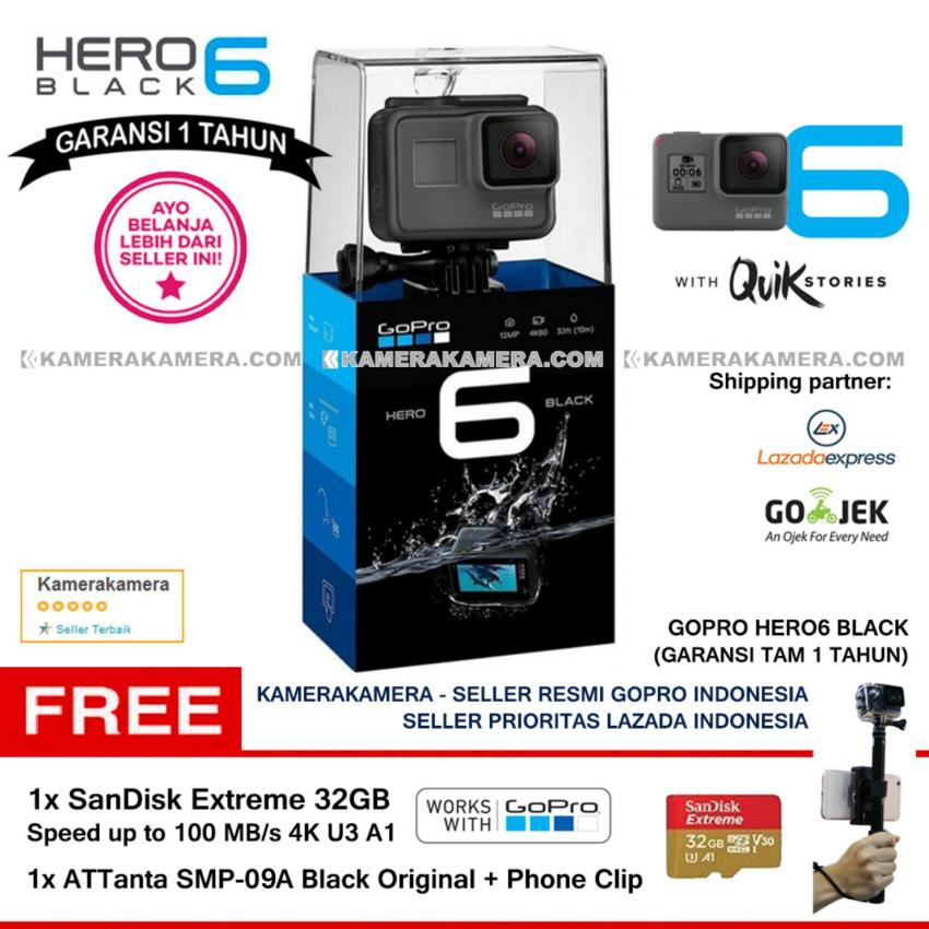 Jual Gopro Hero6 Black Quik Stories Resmi Gopro 4K Wifi Waterproof With Zoom Mode Sandisk Extreme 32Gb 100Mb Attanta Smp 09A Black Original Phone Clip Gopro Grosir