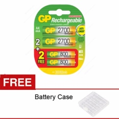 Review Tentang Gp Batteries Rechargeble Combo Aa 2700Mah Bp2 Aaa 800Mah Bp2 Free Battery Case