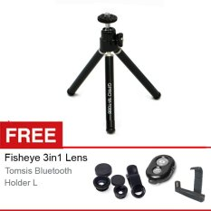 Toko Gpro Tripod Mini M 1088 Hitam Gratis Fisheye 3In1 Lens Tomsis Bluetooth Holder L Termurah