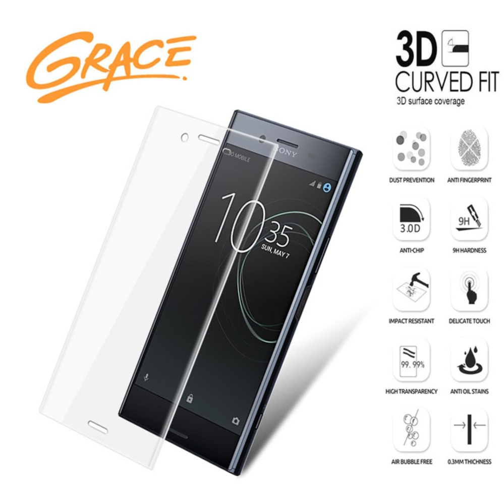 Grace Sony Xperia XZ Premium G8142 Tempered Glass 3D Curved Full Cover Clear