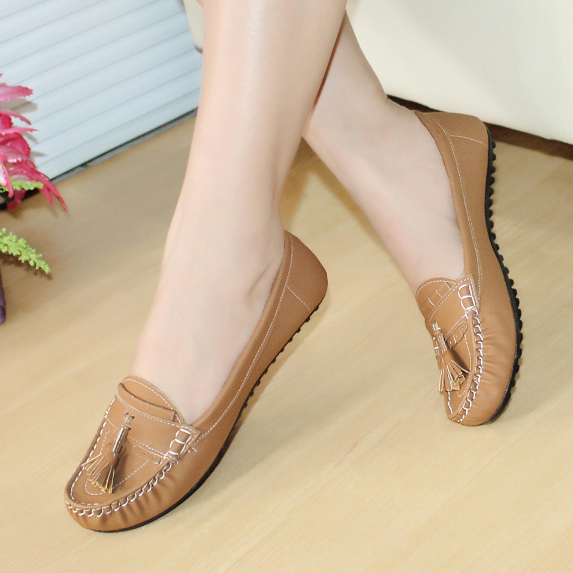Gratica Sepatu Flat Flatshoes Laser Tan NFZ-09is